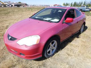 *SELLING OFFSITE COALDALE, AB* 2003 Acura RSX c/w 2.0L 4 Cyl, 5 Spd Manual, AC, Tilt, Cruise, Pwr Windows, Locks, Sunroof & Mirrors, Heated Leather. Showing 200,748 Kms. S/N JH4DC53883C801512.