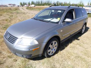 *SELLING OFFSITE COALDALE, AB* 2003 Volkswagen Passat 4-Motion AWD c/w 2.8L V6, 5 Spd Manual, AC, Tilt, Cruise, Pwr Windows, Locks, Sunroof & Mirrors, Heated Leather. Showing 243,345 Kms. S/N WVWYH63B03E313603.