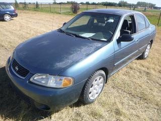 *SELLING OFFSITE COALDALE, AB* 2002 Nissan Sentra XE c/w 1.8L 4 Cyl, Auto, AC, Tilt, Cruise, Pwr Windows, Locks, & Mirrors. Showing 126,183 Kms. S/N 3N1CB51D72L582452.