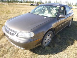 *SELLING OFFSITE COALDALE, AB* 2001 Chevrolet Malibu LS c/w 3.1L V6, Auto, AC, Tilt, Cruise, Pwr Windows, Locks, Sunroof, Trunk & Mirrors, Traction Control. *New* Sunroof in Trunk. Showing 78,103 Kms.*Air Bags Deployed*  S/N 1G1NE52J416149089.