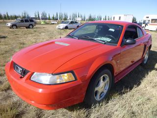*SELLING OFFSITE COALDALE, AB* 2001 Ford Mustang c/w 3.8L V6, Auto, AC, Tilt, Cruise, Pwr Windows, Locks, Trunk & Mirrors. Showing 69,821 Kms. S/N 1FAFP40401F217164.