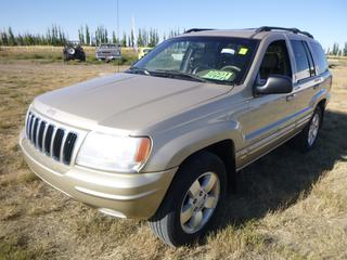 *SELLING OFFSITE COALDALE, AB* 2001 Jeep Grand Cherokee Limited 4x4 c/w 4.7L V8, Auto, AC, Tilt, Cruise, Pwr Windows, Seats, Locks & Mirrors, Heated Leather. Showing 218,187 Kms. S/N 1J4GW58N91C575217.