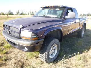 *SELLING OFFSITE COALDALE, AB* 1998 Dodge Dakota Sport 4x4 c/w 5.2L V8, Auto, AC, Tilt, Cruise, New Goodyear Wranglers 31x10.5xR15. Showing 226,432 Kms. S/N 1B7GG2Y6WS699026.