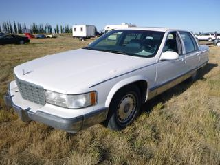 *SELLING OFFSITE COALDALE, AB* 1995 Cadillac Fleetwood Brougham c/w 5.7L (350 LT1), Auto, AC, Tilt, Cruise, Pwr Windows, Locks, Trunk, Seats, Sunroof & Mirrors. Showing 250,702 Kms. S/N 1G6DW52P2SR704077.