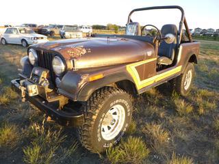 *SELLING OFFSITE COALDALE, AB* 1981 Jeep CJ7 4x4 c/w 4.2L 6 Cyl, 4 Spd Manual, Warn XD9000i Winch w/ Remote Control & Tow Bar. Showing 69,139 Kms. S/N 1JCCM87E1BT064727.