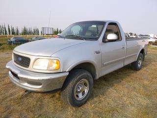 *SELLING OFFSITE COALDALE, AB* 1997 Ford F150 XLT 4x4 c/w 5.4L V8, Auto, Air, Tilt, Cruise, Pwr Windows, Pwr Locks, Pwr, Mirrors. Showing 326,130 Kms. S/N 1FTDF18W2VKA62297.