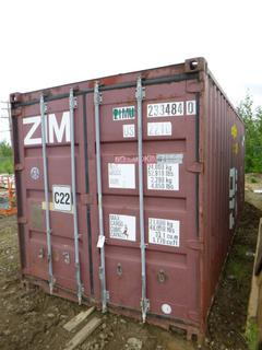 20' Seacan w/ Shelving, Lights and Outlet Installed *NOTE: Minor Dents and Holes*  **Buyer Responsible for Load Out**