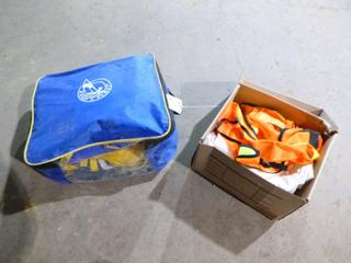 (3) Keep A Float Life Jackets w/ Carrying Case and Safety Vests, Tyvek Suits