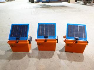 (3) Weather Proof Battery Box w/ Mounted 5 Watt Solar Panel