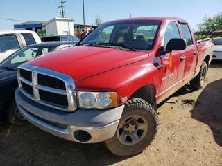 2004 Dodge Ram 1500 4X4 Pick Up C/w 5.7L Hemi, 8-Cyl, A/T, A/C. VIN 1D7HU18D64J276886 *NOTE: Running Condition Unknown, No Key*