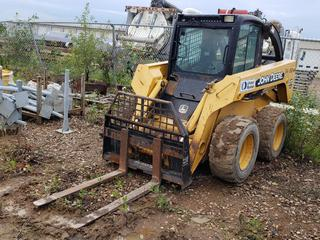 John Deere 270 Series II Skid Steer w/ 48in Forks, Manual Quick Attach, Cab,  12-16.5 Tires At 10%, Showing 3751.5 Hours, SN T00270A936224
