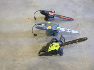 """(1) Electric Remington 16"""" Chain Saw, (1) Electric Yardworxs 16"""" Chain Saw, (1) Poulan Gas 14"""" Chain Saw (G2)"""