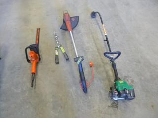 (1) Black N Decker String Trimmer, (1) Gas Weed Eater, (1) Hedge Trimmer, (1) Hedge Shears
