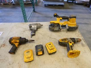 """(1) Kobalt 1/2"""" Air Impact, (1) Magnesium 1/2"""" Impact Wrench, (1) Dewalt Drill, (1) Dewalt Band Saw, *No Charger*, Tool Box w/ Contents (G2)"""