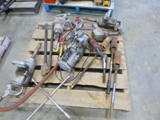 """(4) Pneumatic  Heavy Duty Impact, (3) Tiger Torches, (1) Yellow Jacket Air Compressor, (1) 3/4"""" Rachet Wrench Head, (1) Ramset Master Shot Fastening Tool, S/N 30109036, (1) Crosby 3 Ton Swivel Hook, (1) Tire Iron, (1) 1"""" Crimper (E5-13)"""