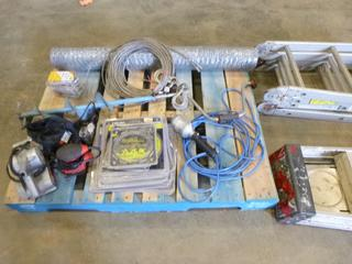"""(4) 6"""" Saw Blades, (4) Sanders, (5) Saw Chains, 50"""" Winch Cable,  (2) Ladders, (1) Trouble Light, (1) Ice Auger Drill, (1) Air Chipper, Chicken Wire Roll (E5-23)"""