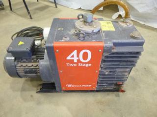 Ed Wards 2 Stage Vacuum Pump, Model 40, (E5-4,3)