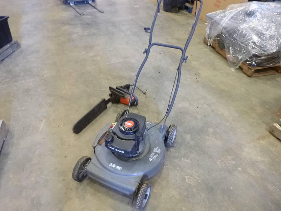 "Craftsman Push Lawn Mower, Model 944366230 c/w 3.8 HP, 20"" Cut, SN 031596M, (Working Condition Unknown), (1) Black and Decker 350MM Electric Chain Saw (Working Condition) (Fichtenberg/Higher Ground Acreage Dispersal)"