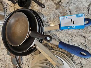 "Lot Browne-Halco Frying Pans (2 12"" Pans, 2 10"" Pans & 1 Kitchen Aid 8"" Pan)"
