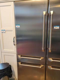"""GE Monogram 30"""" Stainless Steel Fridge 2 Drawer Bottom Freezer (Left Door Open)"""