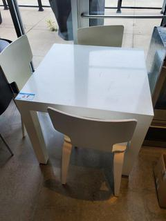 """36"""" Square White Resin Table w/3 Chairs"""