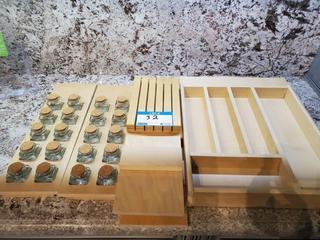 Lot Wooden Drawer Cutlery Holders & Spice Bottle Rack