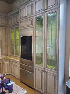 """Grey Antiqued L-Shape Kitchen Cabinet Unit w/ Glass Doors, LED Lighting, Wine Rack, & 1 1/2"""" Granite Stone Top Island, Extra Tall Crown Moulding, Richelieu Hardware & 1 1/2"""" Granite. (See pics for details on size and measurements)"""