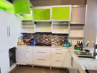 """High Gloss White / Green U-Shape Kitchen Cabinet w/Cambria 1 1/4"""" Stone Top & S/S Sink & Faucet, Richelieu Hardware. (See pics for details on sizing)"""
