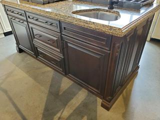 """Tobacco Coloured Island w/ S/S Sink, 2 7/16"""" Cambria Quartz Stone Top, 3 Drawer Storage & 2 Door Cabinets - See Pics for details on Sizing"""