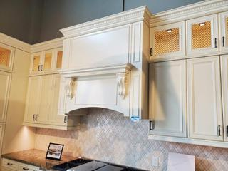 """Lot Double L-Shape Kitchen Cabinets, Ivory w/Brown Brushstroke, With LED Lighting & Electrical. 1 1/2"""" Cambria Stone Top - (See pics for details and Sizing)"""