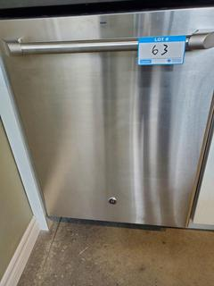 GE Cafe S/S Dishwasher Mod. CDT765SSF7SS, S/N ZF01153B, Full stainless steel interior, 102 cleaning jets, Reversing quad blade wash arm, Dimensions: 34 H x 23 3/4 W x 24 D