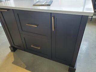 Brown Colored w/ white Caeserstone Stone Top Kitchen Island, w/ 2 Drawer & 2 Door Cabinets (See Pics for Sizing & Details)