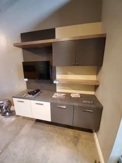 Dk Grey / Cream colored Wall Unit, w/4 Drawers, 2 door cabinet & Shelving