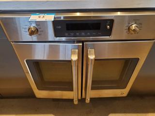 """GE Cafe 30"""" CT9070SH1SS 2 Door Wall Mount Oven, S/N MF604043Q, Covered bake element. Convection mode.Temperature probe. Glass touch control panel. Dial for oven mode and/or other settings.French door"""