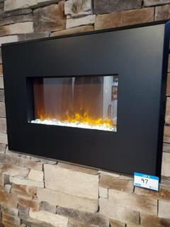 """Blk Wall Mount Electric Fireplace, 36"""" x 26"""" tall"""