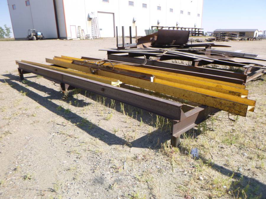 """Steel rack w/ contents. (rack) approx 240"""" x 96"""". Spreader bars various size up to 296"""""""
