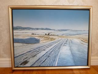 """36in X 48in """"By Oiln Creek"""" Acrylic On Canvas By  W.H. Webb"""