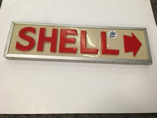 "Double Sided Shell Sign, 22 1/4"" x 6 1/41""."