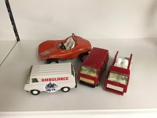 Small Ambulance, (2) Small Fire Trucks & Orange Tonka Car.