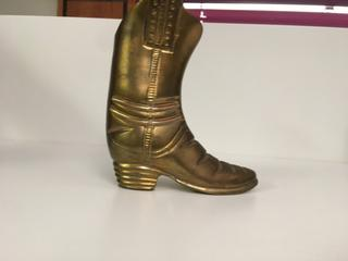 "Metal Boot Decor/ Candle Holder, 4 1/2"" x 5 1/4""."