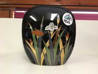 "Black Painted with Flowers Vase, ~ 7"" x 7 1/2""."