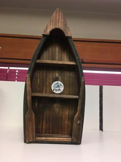 "Small Wooden Boat Shelf/Decor, 6 1/2"" x 15""."