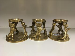 (3) Brass Cat Candle Holders.