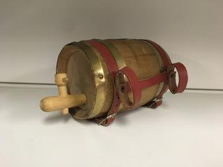 Small Wood Whiskey Barrel.