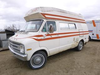 1977 Dodge Fargo B200 Camper Van c/w A/C, Fridge, Stove, Toilet, Sleeps 4, 6,100 LB GVWR, 127 In. W/B, 225/75R15 Tires, VIN B25BF7K219168 (E. Fence)