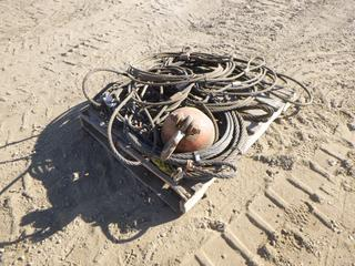 Qty of Wire Rope Slings, Various Lengths and Size c/w McKissick 7 Ton Crane Ball (Row 3)