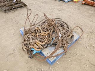 Qty of Lifting Chains w/ 1/2 In. Hook Ends, C/w Qty of Wire Rope Slings of Various Sizes (Row 3)