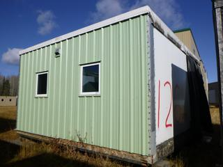 20 Ft. 2 In. L X 19 Ft. 3 In. W X 11 Ft H Modus Camp Module, w/ 2 Bedrooms, 1 Bathroom, (Missing Drywall Patches in Corners) * * NOTE: Buyer Responsible For Load Out.  Located Offsite at TWP Road 743A, Conklin AB, T0P 1H0.  Shipping and Transport Available.  For More Information and Viewing Contact 780-944-9144.  * *