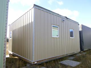 20 Ft. 2 In. L X 19 Ft. 3 In. W X 11 Ft H Modus Camp Module, w/ 2 Bedrooms, 1 Bathroom, (Missing Drywall Patches in Corners, Slight Water Damage) * * NOTE: Buyer Responsible For Load Out.  Located Offsite at TWP Road 743A, Conklin AB, T0P 1H0.  Shipping and Transport Available.  For More Information and Viewing Contact 780-944-9144.  * *