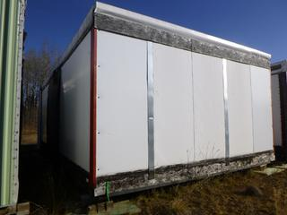 32 Ft. 3 In. L X 20 Ft. W Modus Camp Module, w/ Laundry Room, Utility / Storage Room, Side Room, (Missing Drywall, Slight Mold)  * * NOTE: Buyer Responsible For Load Out.  Located Offsite at TWP Road 743A, Conklin AB, T0P 1H0.  Shipping and Transport Available.  For More Information and Viewing Contact 780-944-9144.  * *